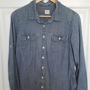 J. Crew chambray denim button up shirt